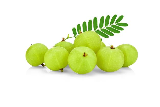 Amla green fruits ,phyllanthus emblica isolated on white