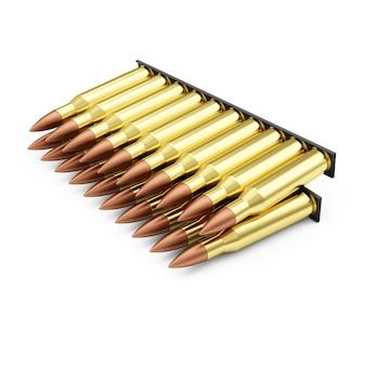 Пакет боеприпасов винтовочных пуль, изолированные на белом