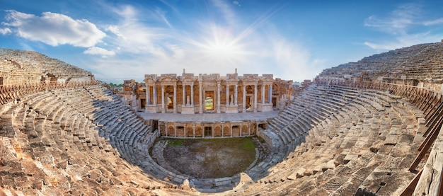 Amphitheater in ancient city of hierapolis in afternoon