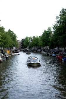 Амстердамские каналы, лодки гуляют по воде