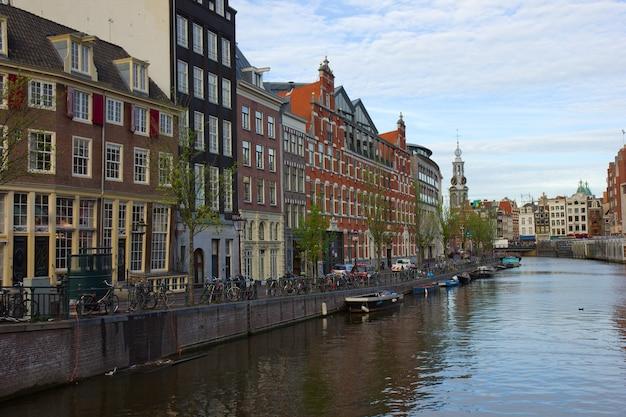 네덜란드의 munttower가있는 암스테르담 도심