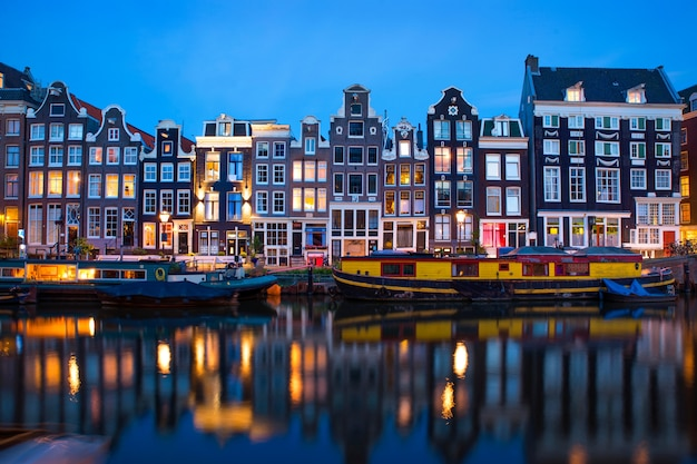 Amsterdam street famous view in the evening