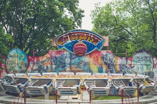 Amusement park, background of a merry-go-round