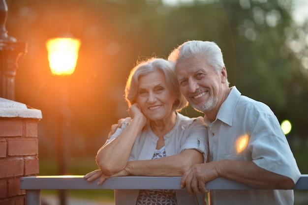 公園のベンチに座って面白い年配のカップル