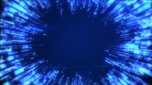 Абстрактный гладкий синий светящийся круг растет и затухает