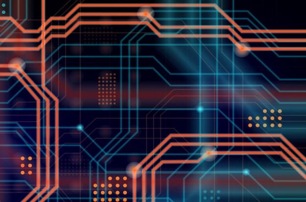 Абстрактный технологический фон, состоящий из множества светящихся направляющих линий