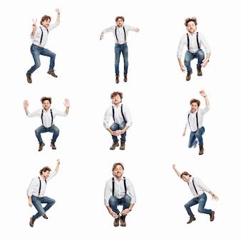 청바지와 흰색 셔츠를 입은 성인 남성이 감정적으로 뛰어옵니다. 성공, 자유, 운동. 흰색 배경에 고립. 콜라주, 설정합니다. 정사각형 형식입니다.