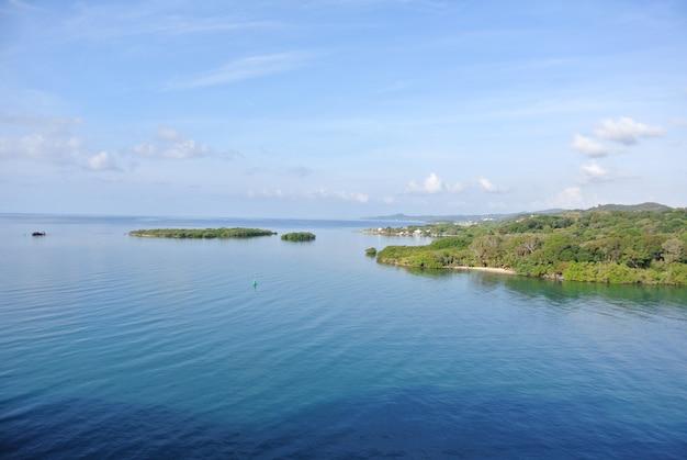 アメリカ、クリスタルのオゼロコミュニティパークの緑の島々の空中ショット