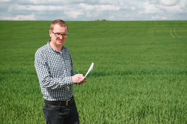 農学者が畑で若い小麦の熟成過程を調査します。農業ビジネスコンセプト