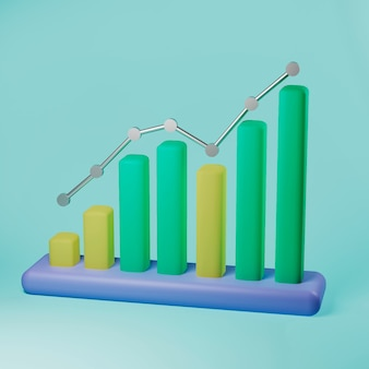 昇順矢印の3dイラスト付き昇順縦棒グラフ
