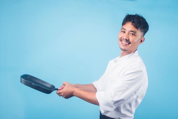 아시아 남자 요리사 œ 회색