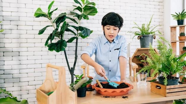 アジアの男性の子供は、鉢の土をすくって植物の世話をするのを楽しんでいます。