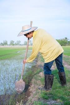 한 아시아 농부가 들판의 흙을 삽으로 삽니다.