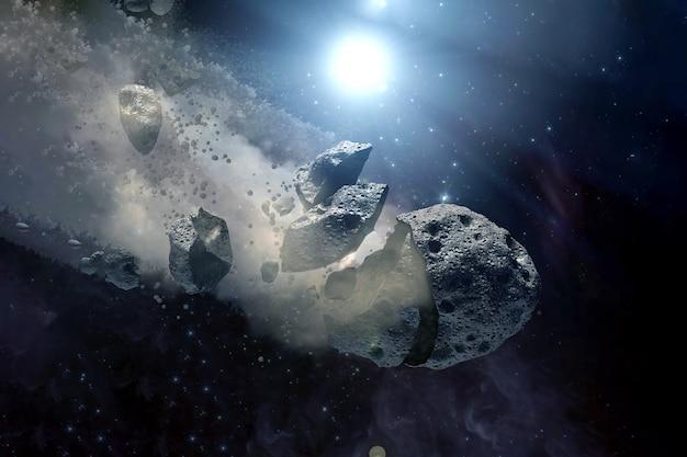 オープンスペースの小惑星。この画像の要素はnasaによって提供されました。あらゆる目的のために。