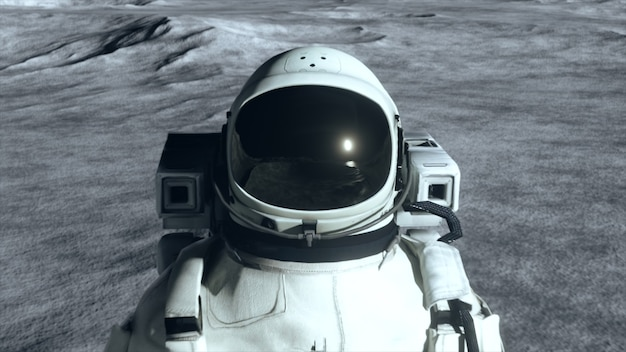 Космонавт стоит на поверхности луны среди кратеров на фоне планеты земля.