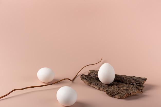 Яйцо на коре дерева на нежном фоне с копией пространства