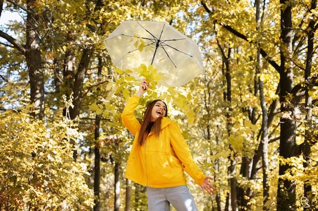 秋の森の前で透明な傘を持つ感情的な女性