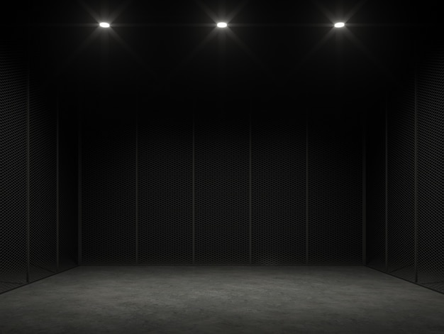 Пустая клетка в темном 3d рендере, полированный бетонный пол и черная стальная стена.
