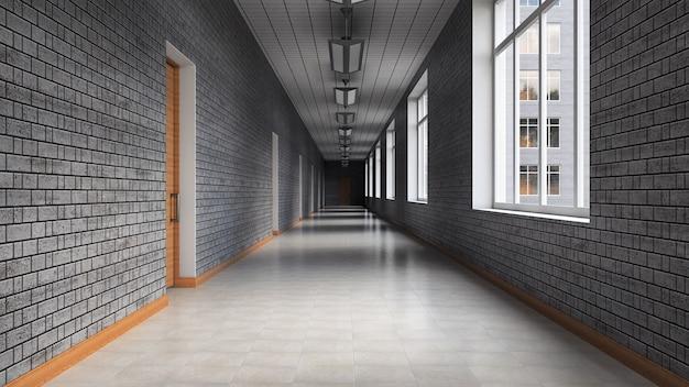 20世紀のオフィスビルの空の廊下。灰色のレンガの壁、明るいタイル張りの床。 3dレンダリング。