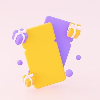 선물이 있는 빈 쿠폰. 노란색과 보라색 색상. 3d 렌더링.