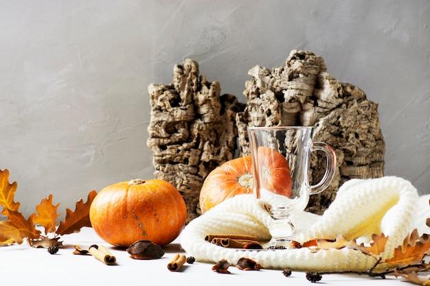 Пустой стакан ирландских подставок из коры дерева на вязаном шарфе, тыквы