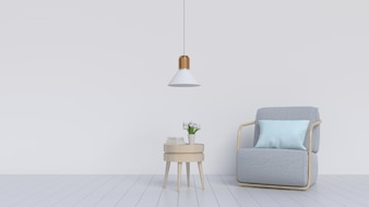 An empty room with wooden floors, armchair and lamps