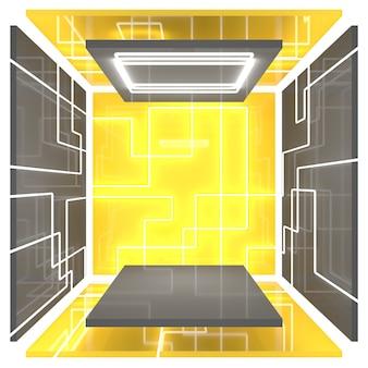 벽에 밝은 네온 불빛이있는 빈 사각형 방