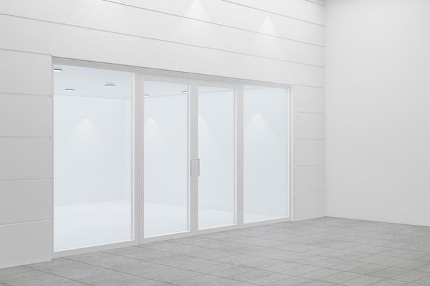 店の空っぽの店先。白いアルミとガラスでデザイン。 3dイラストレーションレンダリング。