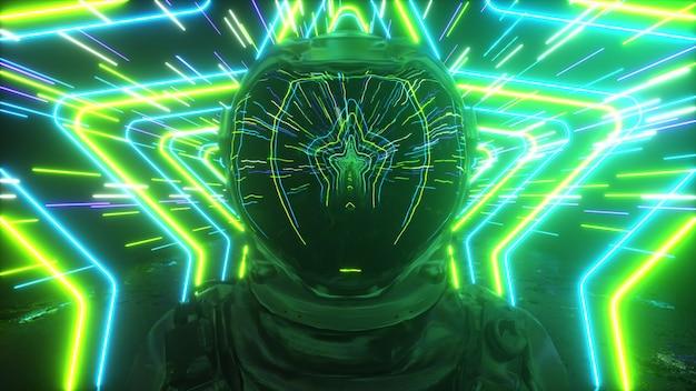 無限の星のネオントンネルが宇宙飛行士に沿って移動します