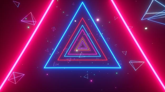 輝く多色ネオン三角形の無限のトンネル
