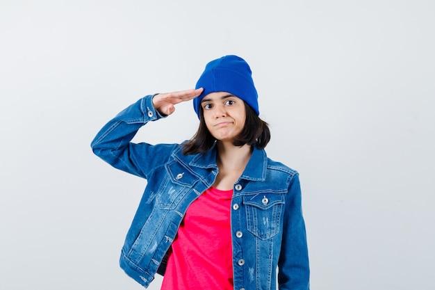 표현 십 대 소녀가 포즈를 취하는