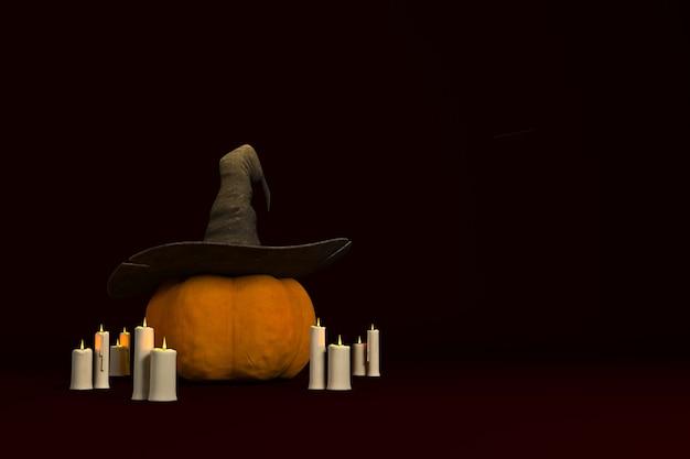 Иллюстрация 3d-рендера на праздник хэллоуина с тыквой, шляпой и свечами