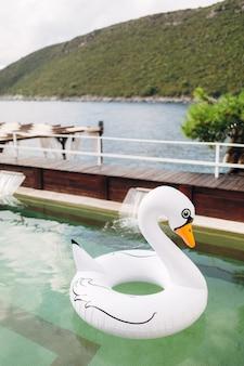 Надувной круг в виде белого лебедя плавает в бассейне