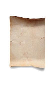 Старый скомканный листок бумаги. скопируйте пространство. изолированные на белом.