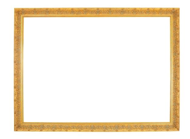 白い背景で隔離の古い金のフレーム