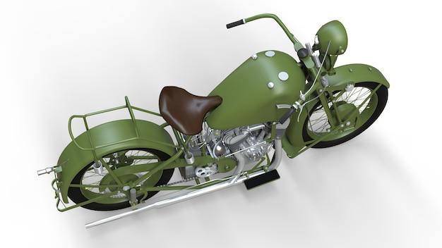 20세기 30년대의 낡은 녹색 오토바이. 비행기에서 그림자와 흰색 배경에 그림.