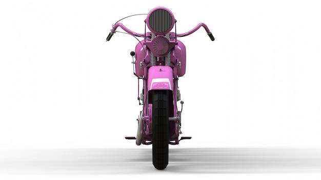 Старый розовый мотоцикл 30-х годов 20 века. иллюстрация на белом пространстве с тенями от на плоскости.