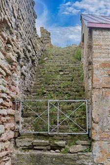Старая каменная лестница, ведущая в небо. лестница, заросшая травой в старом замке