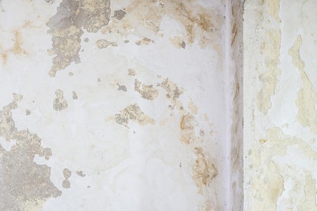 오래된 흰 벽의 건물에는 물이 마르거나 습기가 있는 자국이 있고 노란색 자국과 균열이 있습니다.