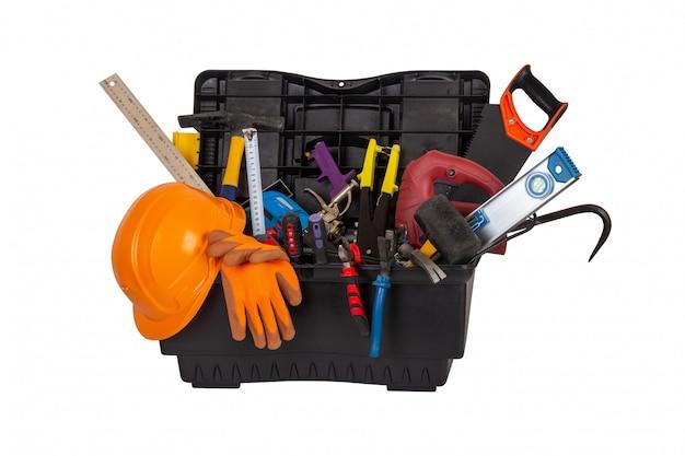 Открытый черный пластиковый ящик для инструментов