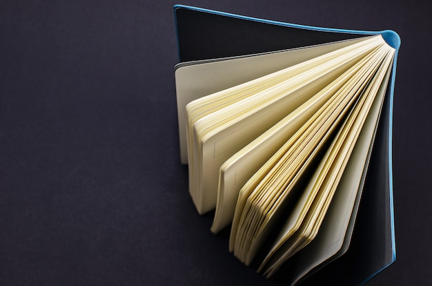 파란색 가죽 덮개가 있는 펼친 책입니다. 위에서 볼 수 있습니다. 교육 개념
