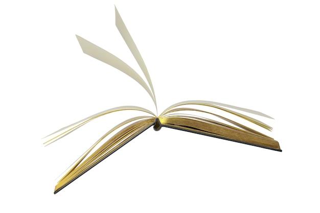 흰색 배경에 격리된 하드 커버 클리핑에 베이지색 페이지가 있는 열린 책