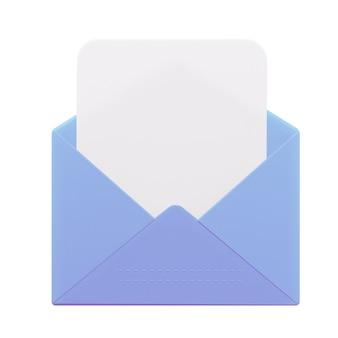 빈 양식이 있는 공개 편지입니다. 3d 렌더링
