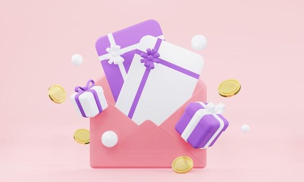선물 카드와 날아다니는 선물 동전이 있는 공개 편지 3d 렌더링