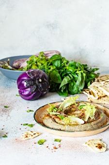 焼き茄子ババガヌーシュ(茄子のピューレ)のオリエンタル料理