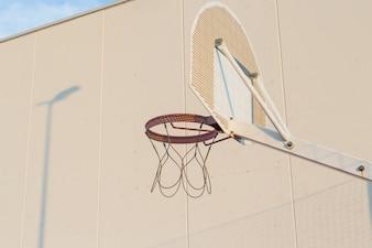 An outdoor basketball hoop
