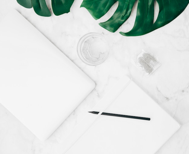 디지털 태블릿의 평면도; 물 유리; 티백; 몬스 테라 잎; 책상에 연필과 일기