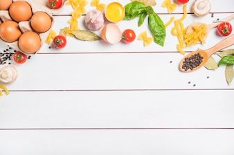 An overhead view of ingredients for making pasta