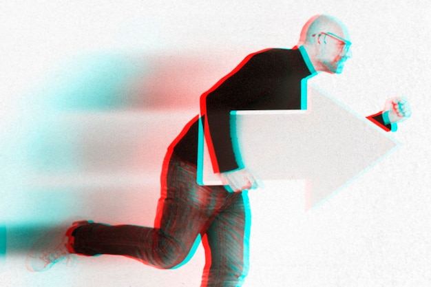 Anaglyph effect on man with arrow