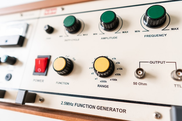 Analog function generator table in electronic laboratory class at college